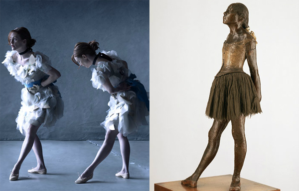 Julianne Moore by Peter Lindbergh as Little Dancer, Aged Fourteen by Edgar Degas.