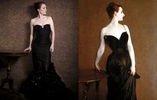 Julianne Moore by Peter Lindbergh as Madame X by John Singer Sargent for Harper's Bazaar.