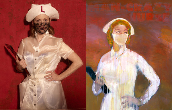 Julianne Moore by Peter Lindbergh as Man Crazy Nurse #3 by Richard Prince for Harper's Bazaar.