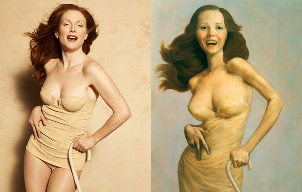 Julianne Moore by Peter Lindbergh as The Cripple by John Currin for Harper's Bazaar.