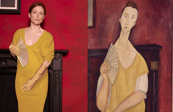 Julianne Moore by Peter Lindbergh as Woman With a Fan by Amedeo Modigliani for Harper's Bazaar.